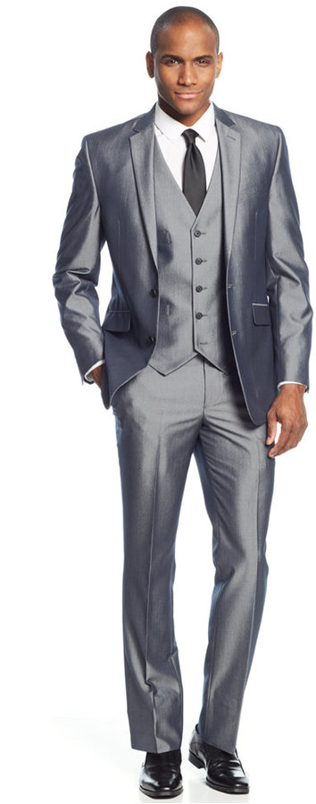 Kenneth Cole Reaction Grey Pinstripe Vested Slim Fit Suit | Where