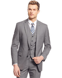 Ryan Seacrest Distinction Light Grey Neat Vested Slim Fit Suit ...