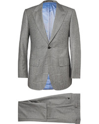 Lutwyche Grey Slim Fit Checked Wool Mohair And Cashmere Blend Three Piece Suit
