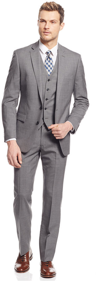 Ryan Seacrest Distinction Light Grey Neat Vested Slim Fit Suit