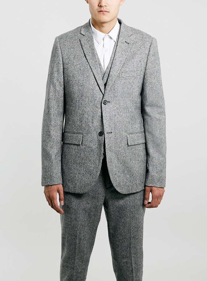 Topman Grey Textured Skinny Fit Three Piece Suit | Where to buy