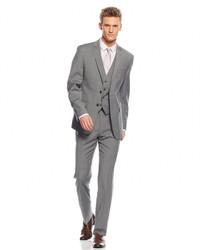 Calvin Klein X Fit Grey Plaid Vested Extra Slim Fit Suit