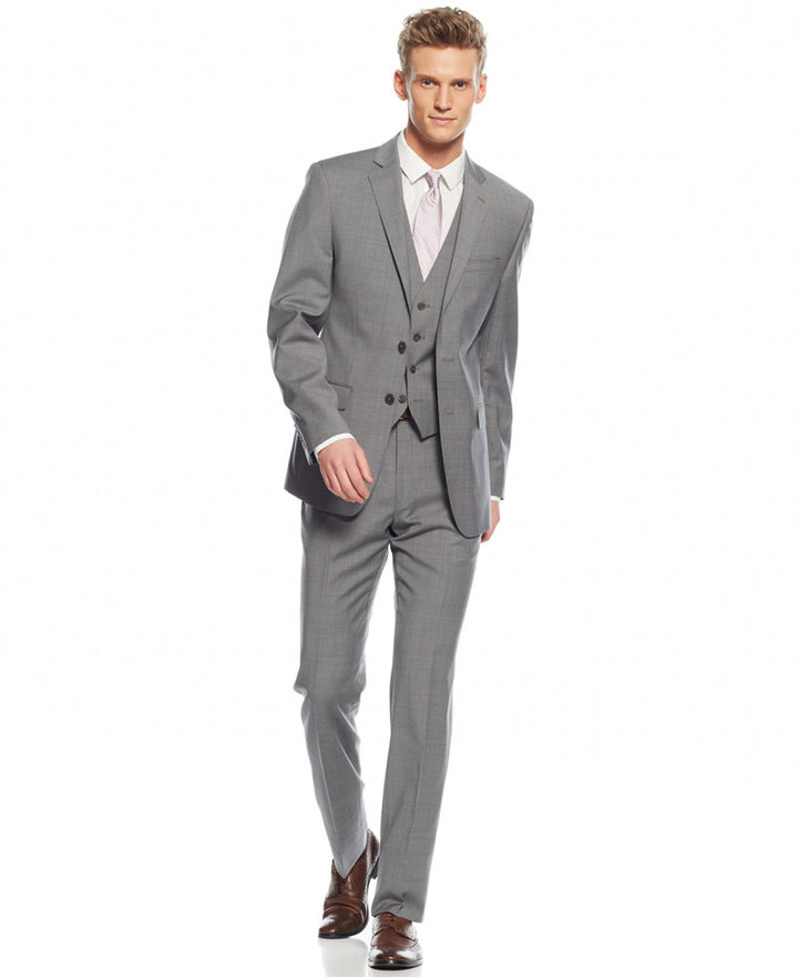 Calvin Klein X Fit Grey Plaid Vested Extra Slim Fit Suit | Where ...