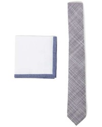 Topman Grey Chambray Tie And White Pocket Square Set