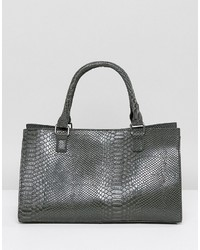 Glamorous Moc Croc Structured Tote Bag In Gray