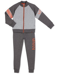 Armani Junior Two Piece Raglan Track Suit Gray Size 4 12