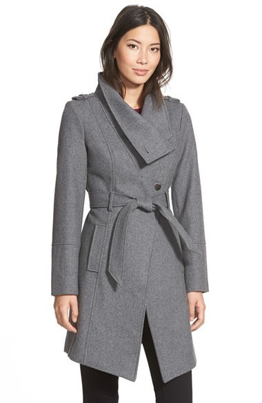 top fashion watch size 40 $240, GUESS Belted Asymmetrical Wool Blend Trench Coat