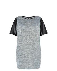 New Look Grey Contrast Leather Look Sleeve Tunic