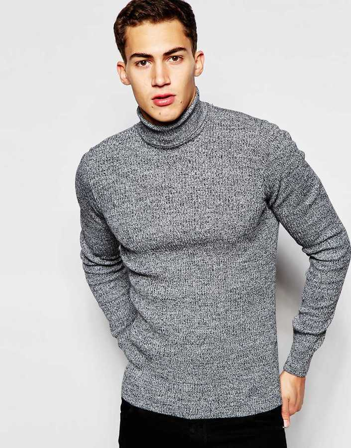 83d489dc4ed81c Asos Brand Muscle Fit Ribbed Roll Neck In Black Twist, $36 | Asos ...