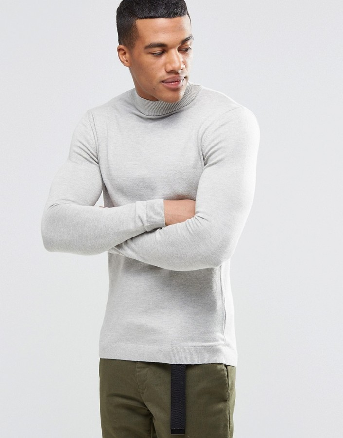 Asos Brand Muscle Fit Turtleneck Sweater In Cotton | Where to buy ...