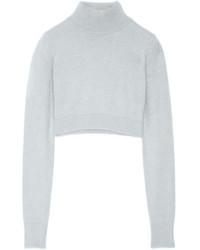 Balmain Cropped Angora Blend Turtleneck Sweater Stone