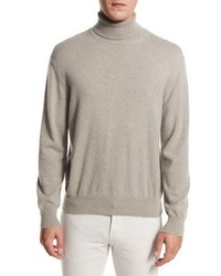 Loro Piana Dolcevita Whitehall Cashmere Turtleneck Sweater Pumice Stone Melange