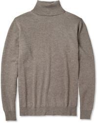 Maison Martin Margiela Leather Trimmed Wool Rollneck Sweater