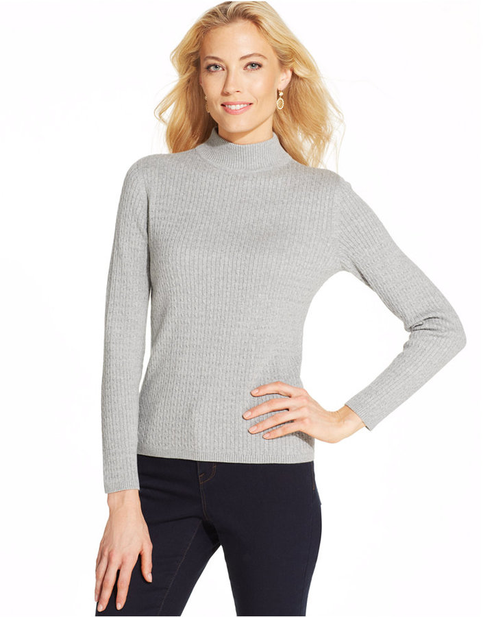Karen Scott Long Sleeve Cable Knit Mock Turtleneck Sweater | Where ...