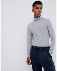 ASOS DESIGN Muscle Fit Long Sleeve T Shirt With Roll Neck In Grey Marl