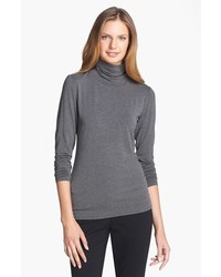 Nordstrom collection ultimate stretch modal turtleneck top heather grey small medium 450657