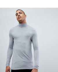 ASOS DESIGN T Sleeve T Shirt With Roll Neck In Grey Marl
