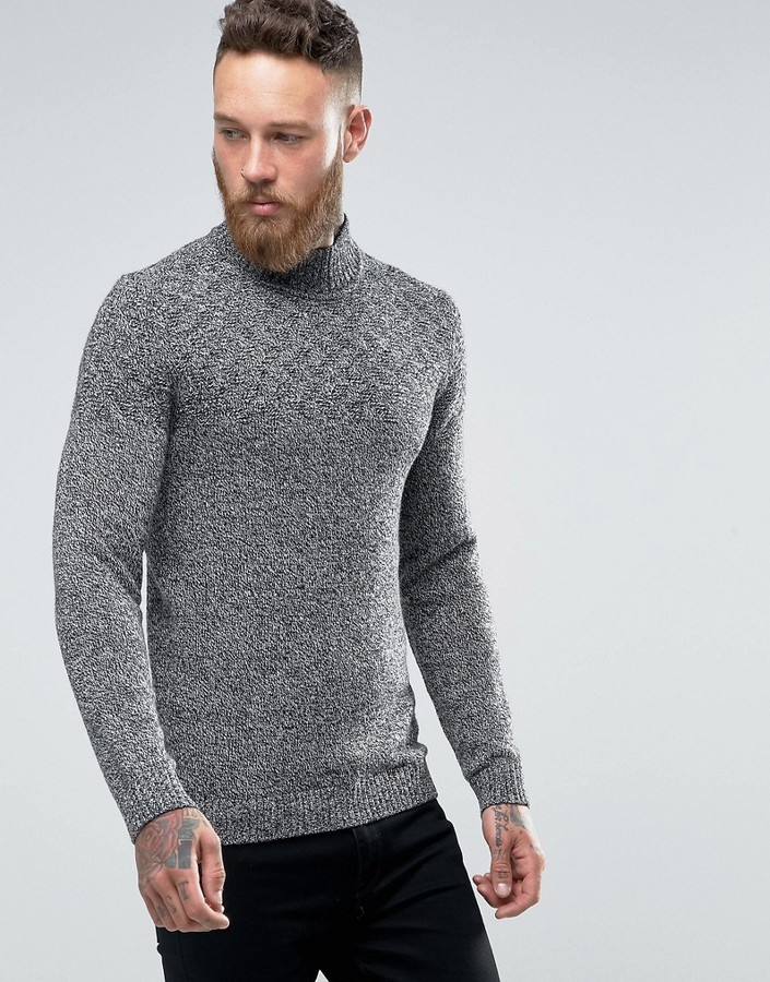 Ted Baker Turtleneck Sweater In Salt N Pepper Yarn | Where to buy ...