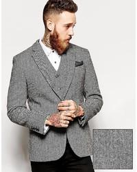 Asos Brand Slim Fit Blazer In Harris Tweed Fabric
