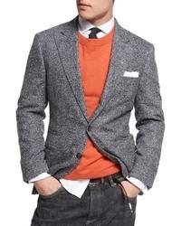 Brunello Cucinelli Donegal Tweed Alpaca Wool Sport Jacket Medium Gray