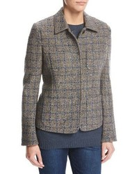 Inverness tweed blazer with leather trim gray medium 4157003