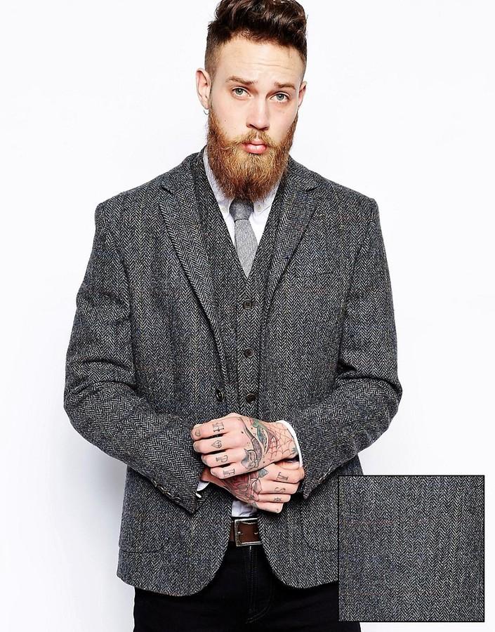 bded13a3b19 ... Asos Slim Fit Blazer In Harris Tweed ...