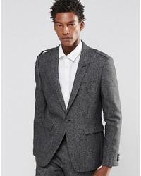 Asos Wedding Slim Suit Jacket With Eppaulettes In Tweed