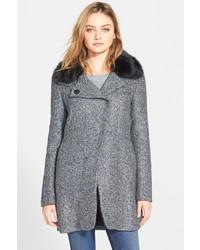 Bebe Faux Fur Trim Asymmetrical Tweed Coat