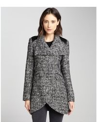 French Connection Black And White Wool Blend Tweed Tulip Coat
