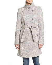 Izzy asymmetrical front tweed coat medium 39425