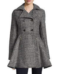 Laundry by Shelli Segal Tweed Double Breasted Swing Coat Blackgray