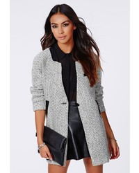 Missguided Petera Tweed Boyfriend Coat With Faux Leather Trim