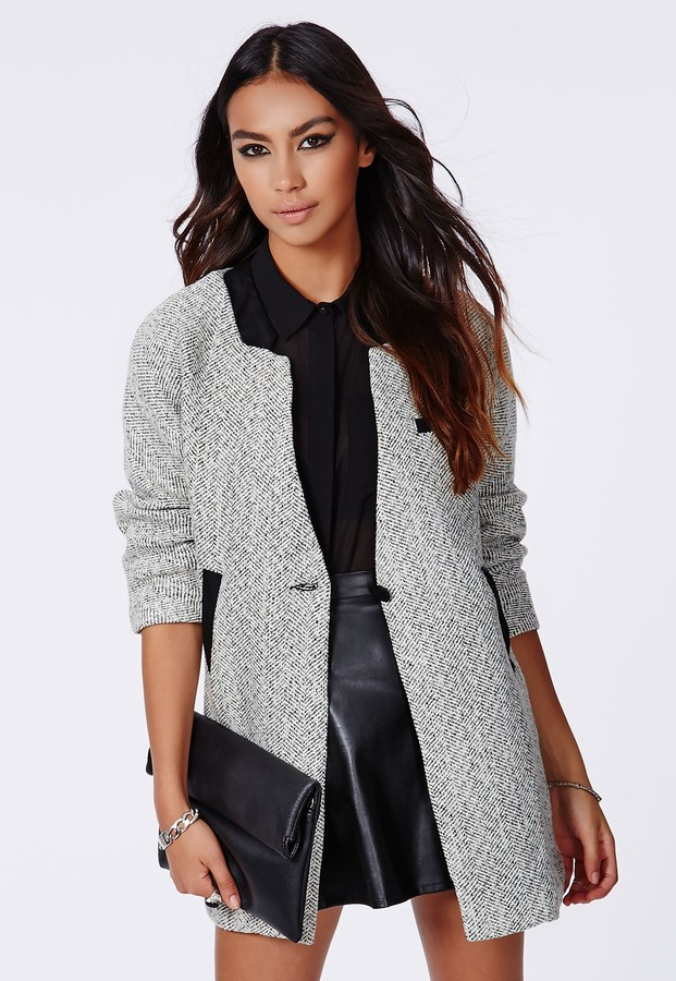 Missguided Petera Tweed Boyfriend Coat With Faux Leather Trim ...