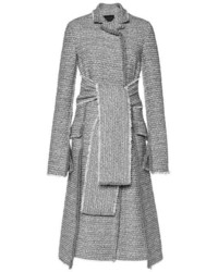Proenza Schouler Slub Tweed Suiting Long Double Breasted Coat Grey