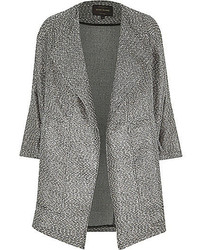 River Island Black Metallic Tweed Boucle Drape Coat