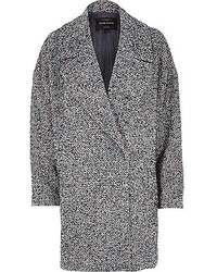 River Island Black Tweed Oversized Coat