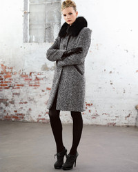 Sofia Cashmere Tweed Button Front Fur Collar Coat | Where to buy ...