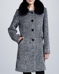 Tweed button front fur collar coat medium 8561