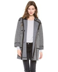 Rebecca Taylor Tweed Leather Coat