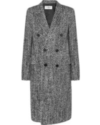 Saint Laurent Wool And Mohair Blend Tweed Coat
