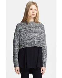 Chunky tweed crop sweater medium 44657