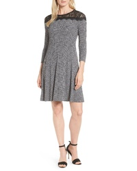 MICHAEL Michael Kors Lace Yoke Tweed Print Dress