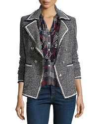 Carroll portrait neck tweed double breasted jacket medium 4948582