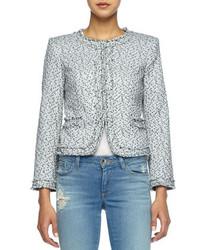 Alice + Olivia Kidman Fringe Trim Tweed Jacket