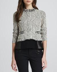 Rebecca Taylor Embellished Cropped Tweed Jacket