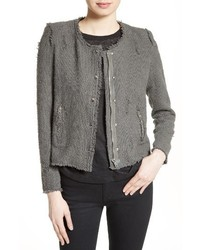 Snap front crop cotton tweed jacket medium 1328045