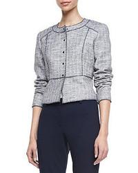 T Tahari Willow Metallic Tweed Snap Jacket
