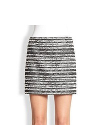 Alice olivia elana metallic tweed mini skirt blackmetallicwhite medium 862735
