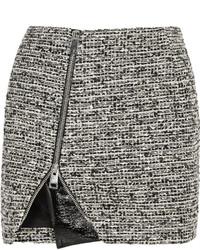 Bouchra Jarrar Wool Blend Tweed And Faux Patent Leather Mini Skirt
