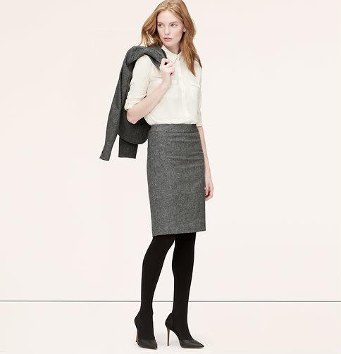205d4b25f96501 LOFT Petite Curvy Fit Peppered Tweed Pencil Skirt, $69 | LOFT ...